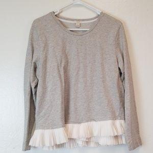 J. Crew Sweater Gray W/Ruffle Bottom Sz XL